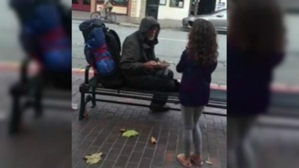 Young Girl Shows Amazing Compassion By Giving A Homeless Man Her Dinner